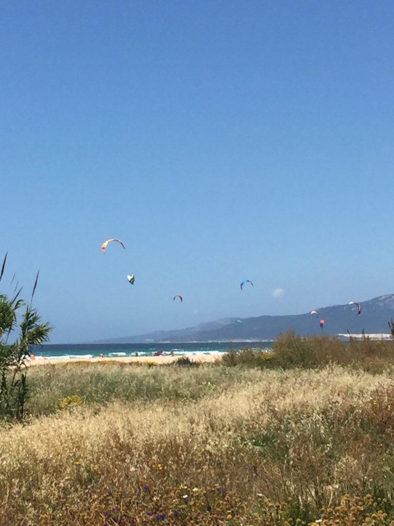 Strand mit Kiteboardern in Tarifa