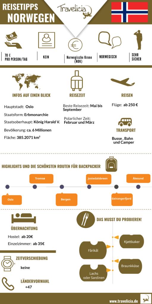 Infografik Norwegen- die wichtigste Information