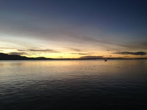 Schilfinseln Sonnenuntergang