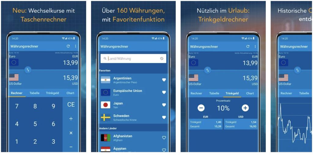 Währungsrechner – Finanzen100 App