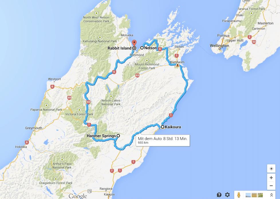 neuseeland-route
